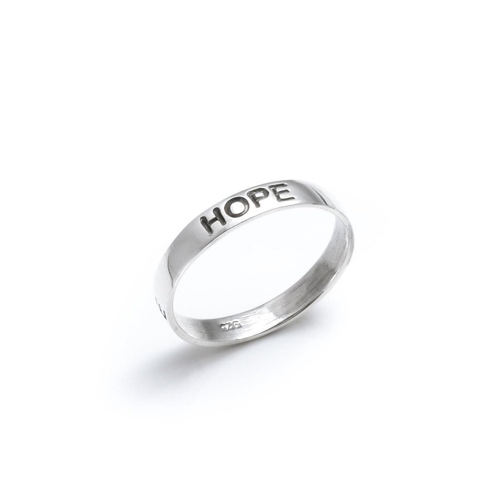 Sterling Silver Faith Love Hope Engraved Band Ring - Silverly
