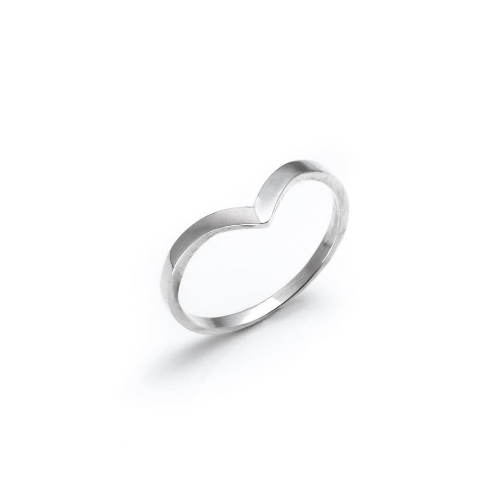 Sterling Silver Chevron Thin Band Ring - Silverly