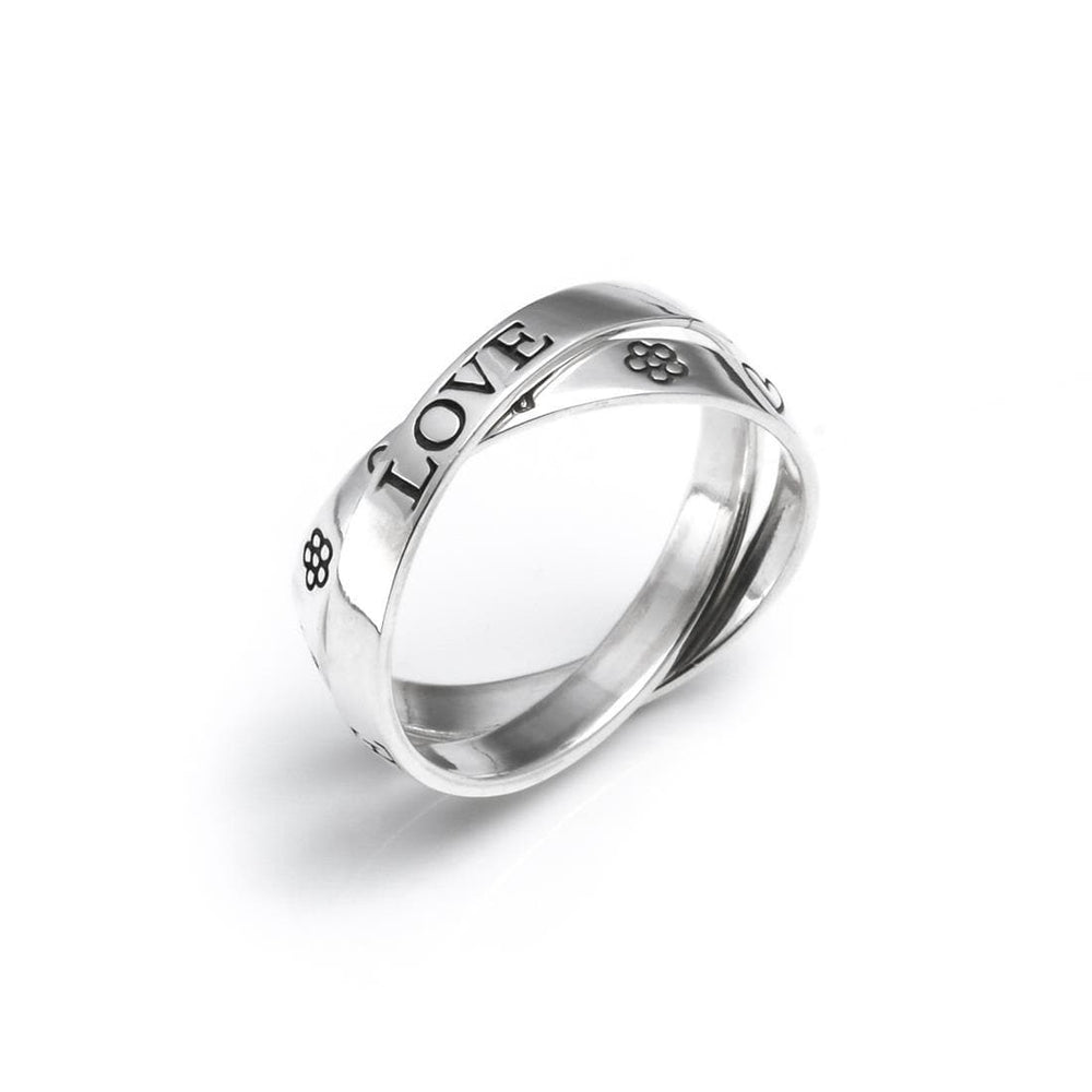 Load image into Gallery viewer, Sterling Silver Love Faith Hope Heart Flower Double Ring - Silverly