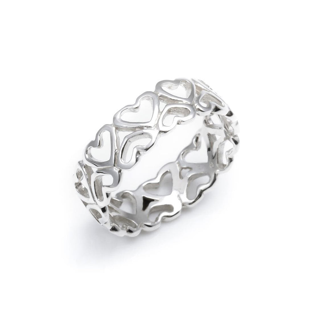 Sterling Silver Open Heart Love Filigree Ring - Silverly