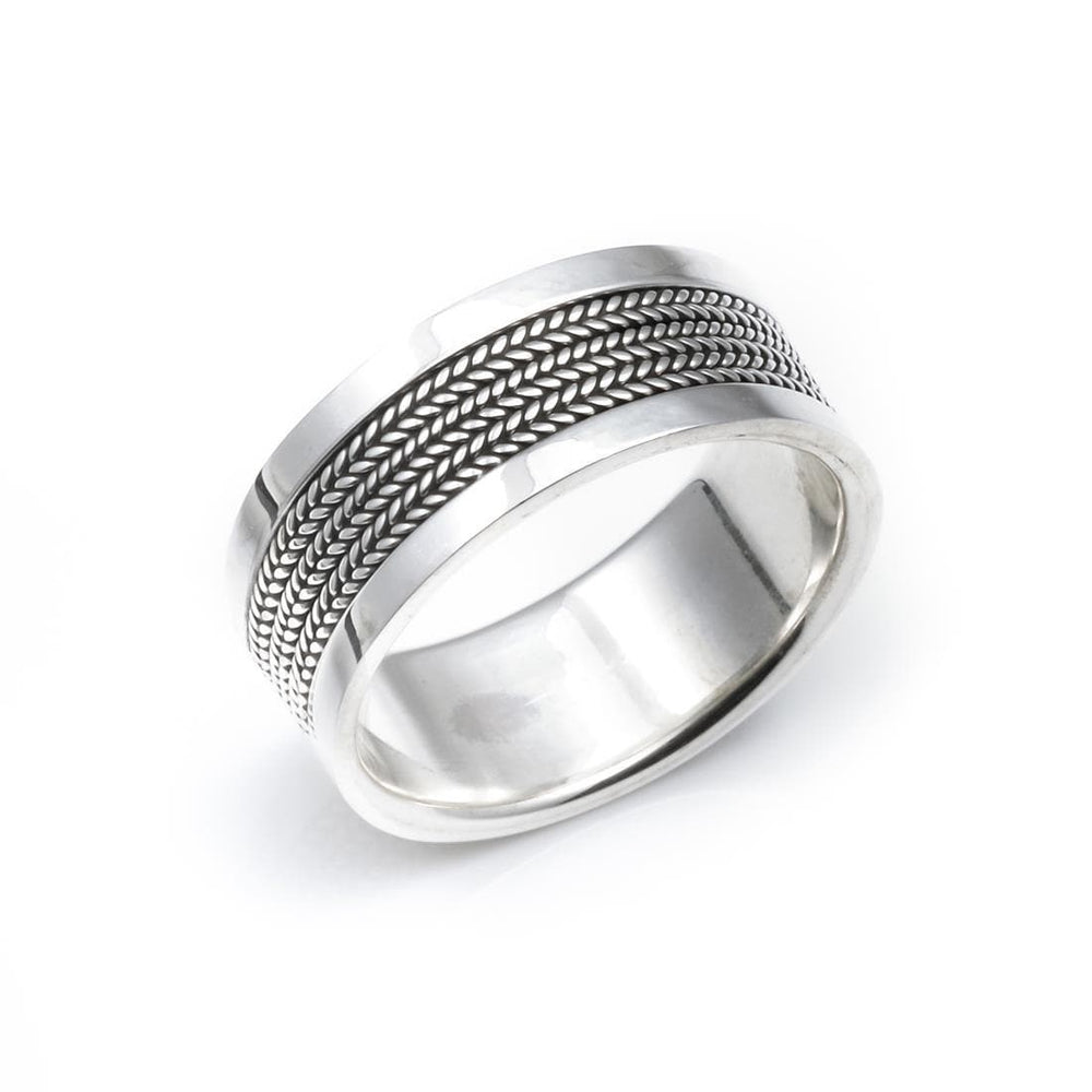 Sterling Silver Bali Rope Band Thumb 9mm Ring - Silverly