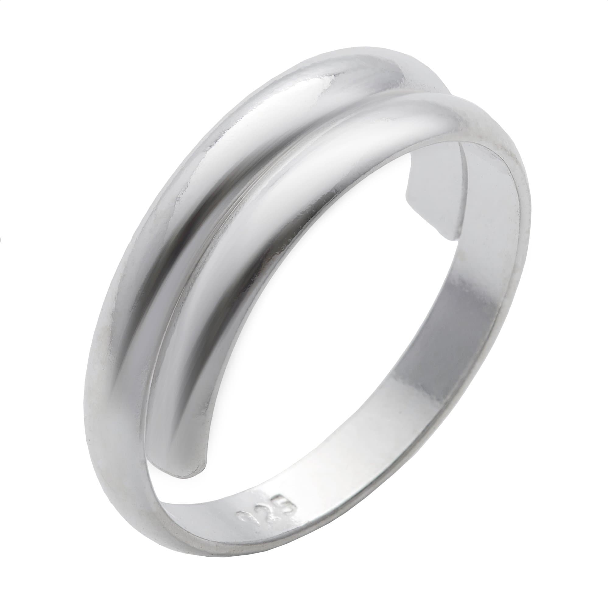 0659de72f147f Sterling Silver Overlapping Plain Adjustable Toe Ring