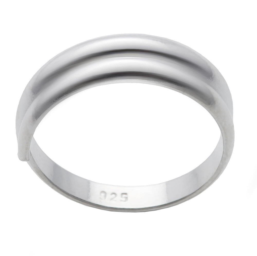 Sterling Silver Overlapping Plain Adjustable Toe Ring - Silverly