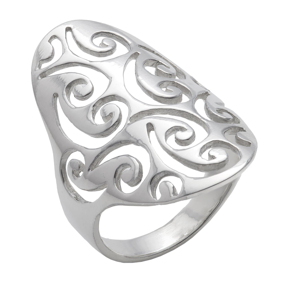 Sterling Silver Filigree Swirl Long Thumb Ring