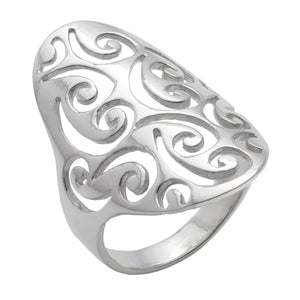 Load image into Gallery viewer, Sterling Silver Filigree Swirl Long Thumb Ring