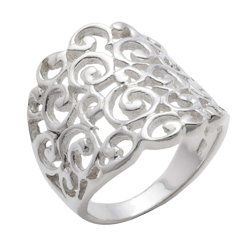 Sterling Silver Wide Filigree Spiral Pattern Ring