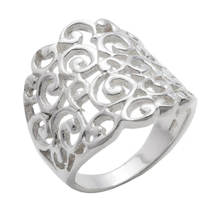 Load image into Gallery viewer, Sterling Silver Wide Filigree Spiral Pattern Ring