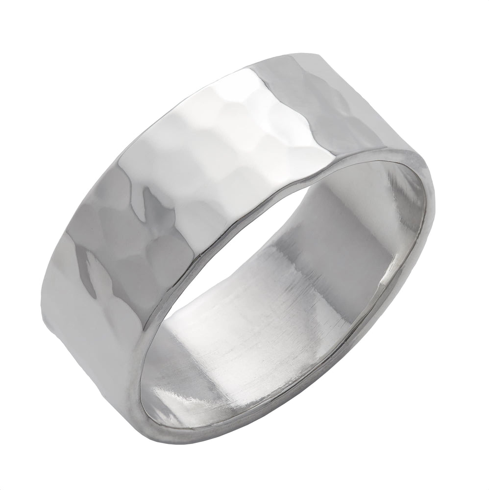 Sterling Silver Hammered Finish Band Ring - Silverly