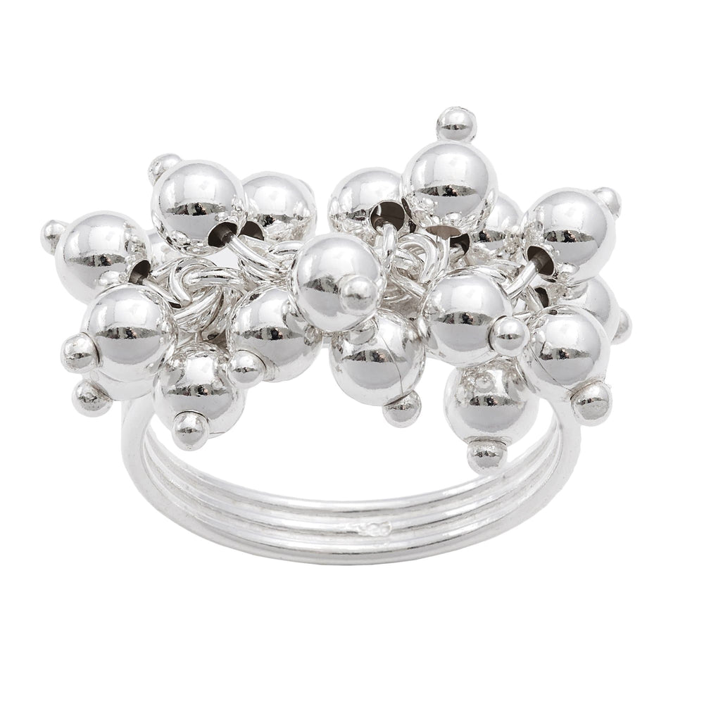 Sterling Silver Bell Ball Charm Layered Ring - Silverly