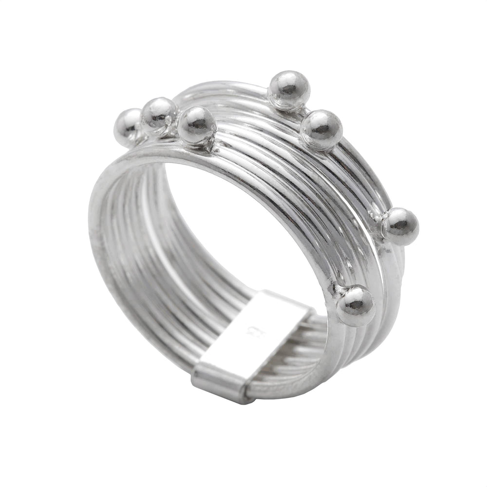 Sterling Silver Stackable 7 Joined Layers Ball Ring - Silverly