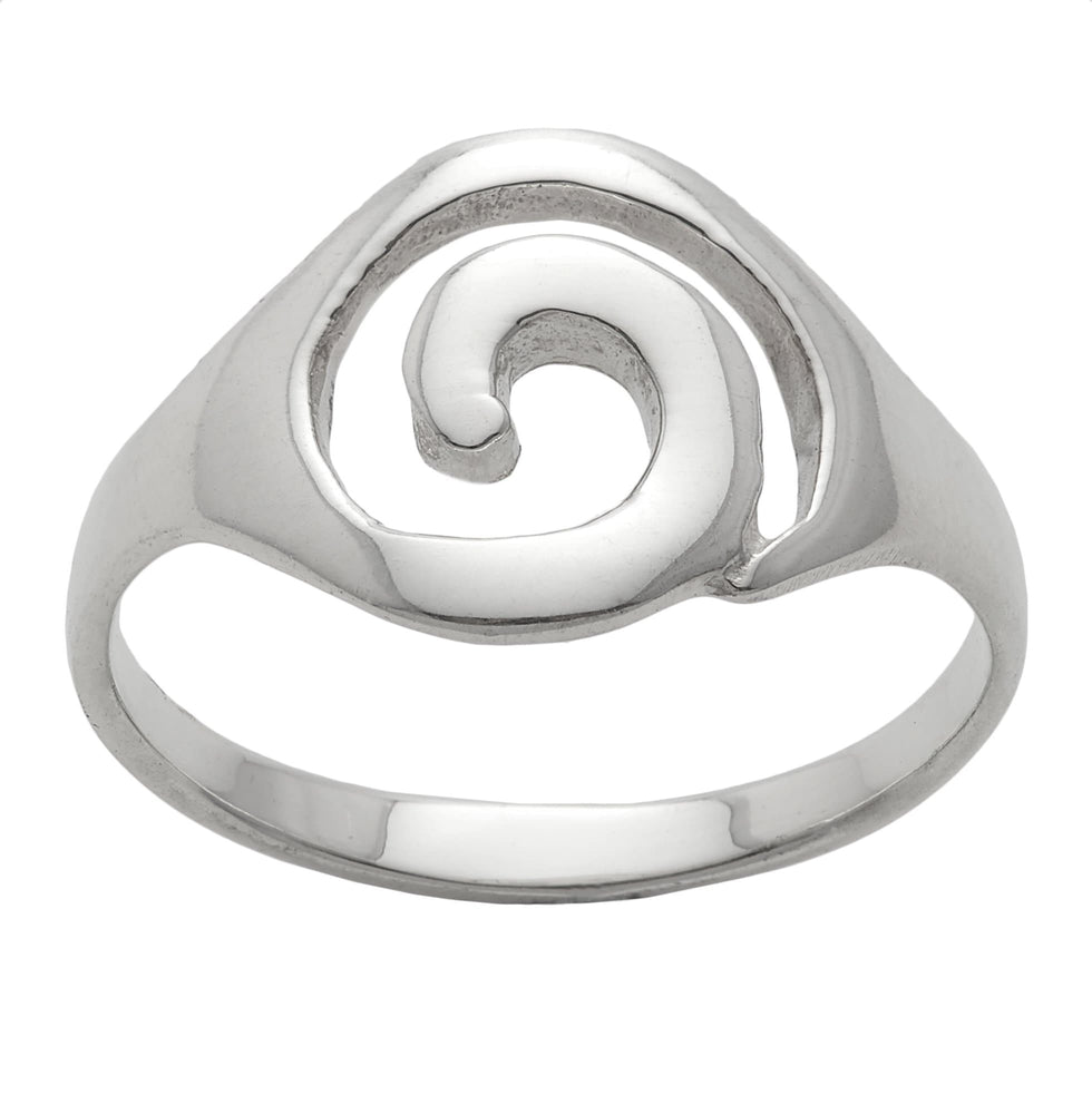 Sterling Silver Simple Open Circular Swirl Ring - Silverly