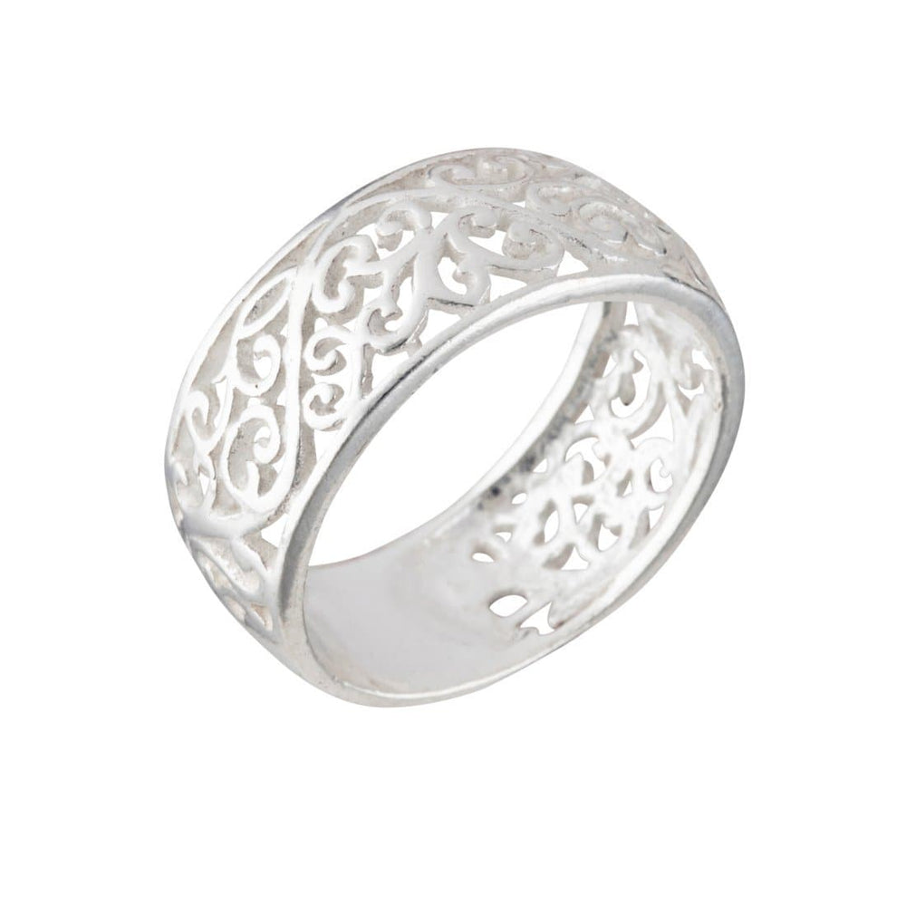 Sterling Silver Open Filigree Polished Band Ring - Silverly