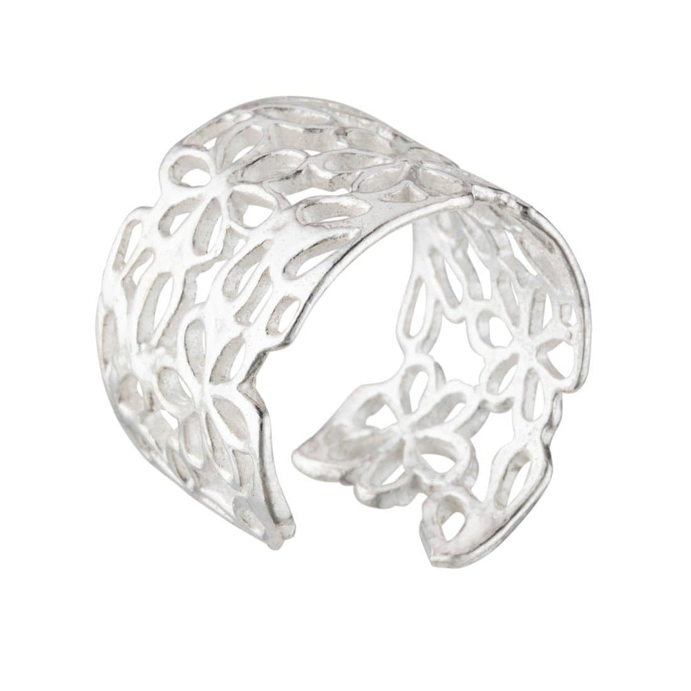 Sterling Silver Open Filigree Flower Adjustable Ring - Silverly