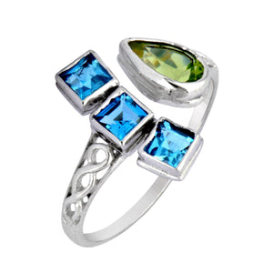 Load image into Gallery viewer, Sterling Silver Blue Topaz and Peridot Gemstone Ring