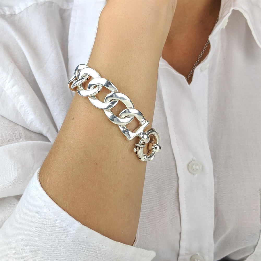 Load image into Gallery viewer, Sterling Silver Electroform Thick Curb Chain Link Bracelet
