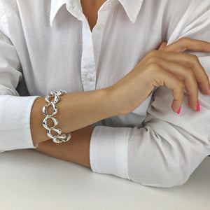 Load image into Gallery viewer, Sterling Silver Electroform Chunky Curb Chain Link Bracelet