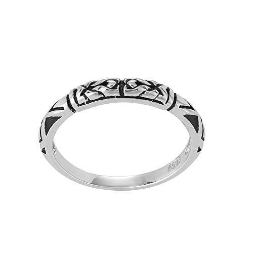 Sterling Silver Etched Tribal Pattern Ring