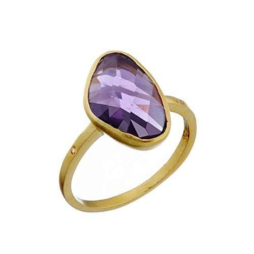 Brushed Gold Plated Sterling Silver Irregular Amethyst Ring
