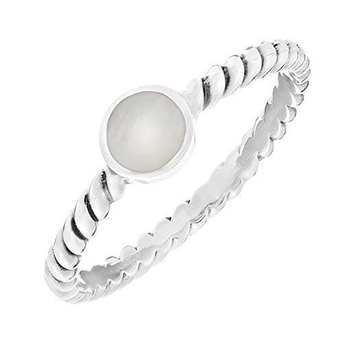 Sterling Silver Mother of Pearl Twisted Ring