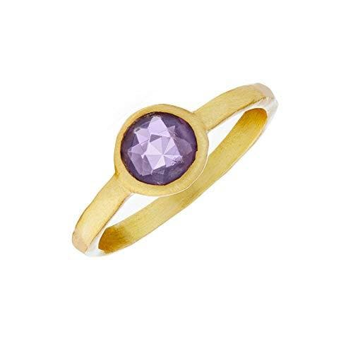 Brushed Gold Plated Sterling Silver Round Amethyst Ring