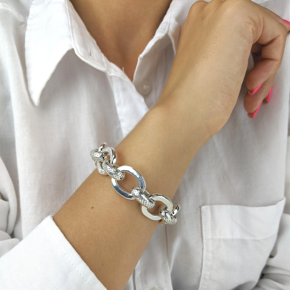 Load image into Gallery viewer, Sterling Silver Electroform Chunky Rolo Chain Bracelet