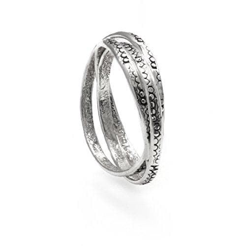 Sterling Silver Russian Wedding Interlocking Ring