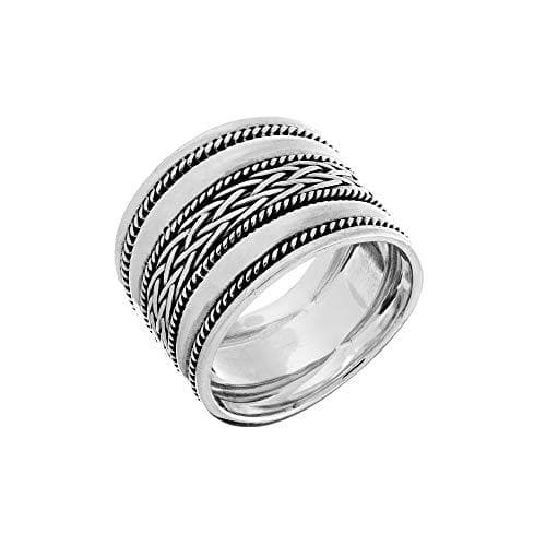 Sterling Silver Grooved Multi-Row Twist Braid Thumb Ring