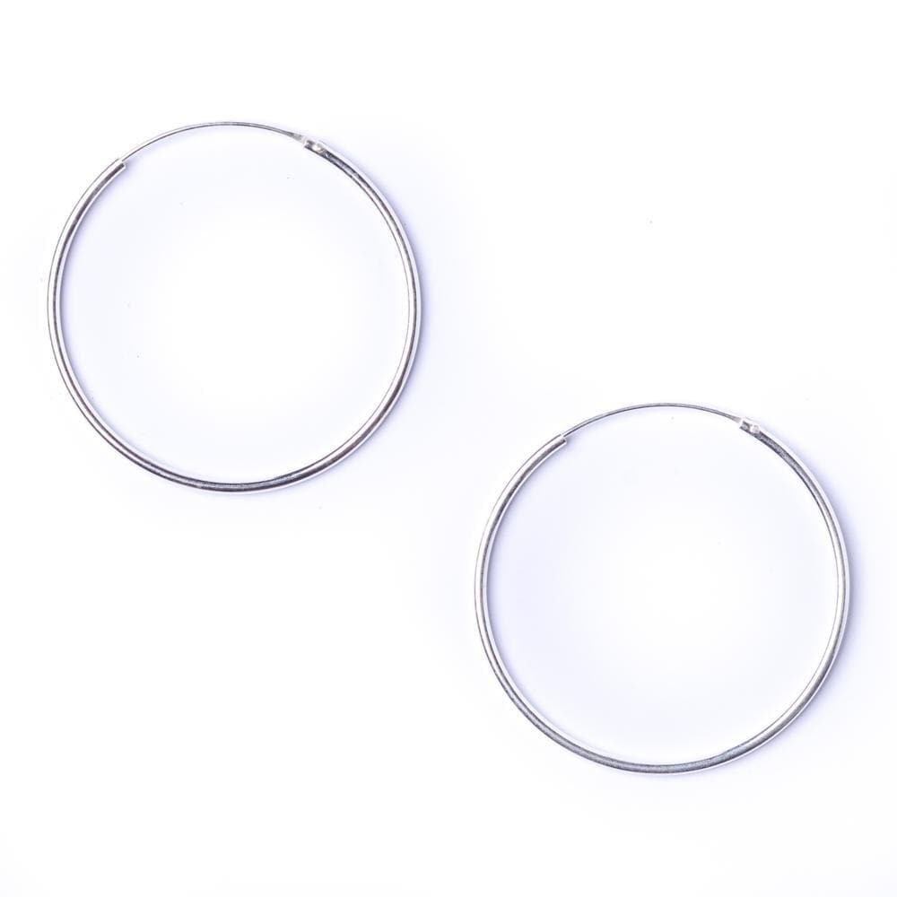Sterling Silver Round 1.2mm 35 mm Hoop Earrings