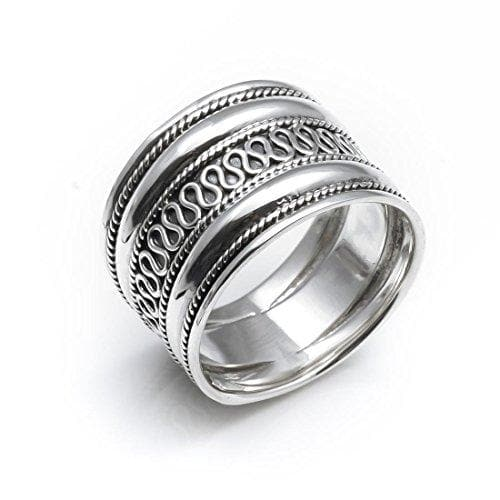 Load image into Gallery viewer, Sterling Silver Rope Scrollwork Bali Thick Ring