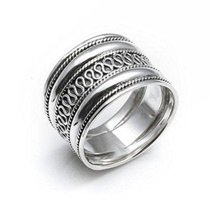Load image into Gallery viewer, Sterling Silver Rope Scroll Work Bali Thick 15mm Thumb Ring
