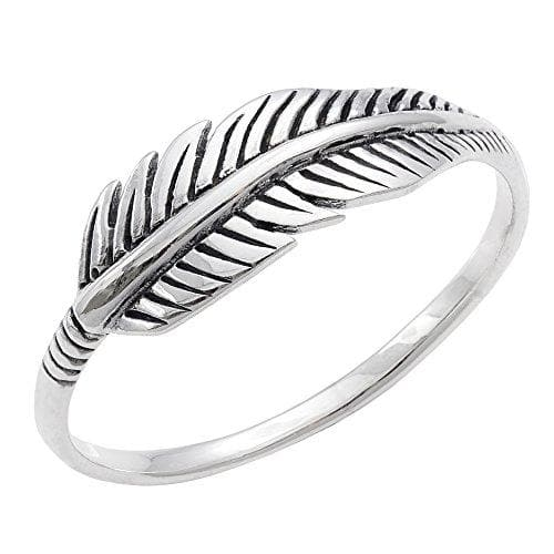 Sterling Silver Quill Plume Feather Ring