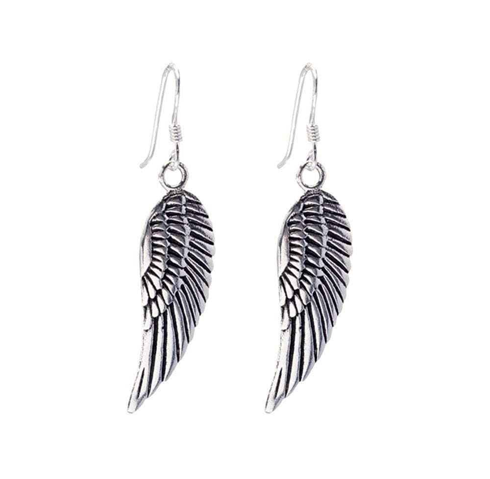 Sterling Silver Angel Wing Feather Earrings