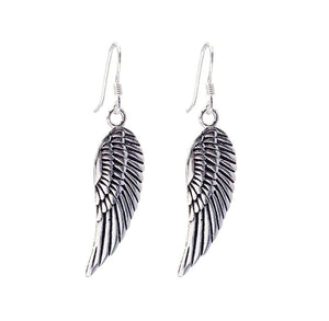 Load image into Gallery viewer, Sterling Silver Angel Wing Feather Earrings