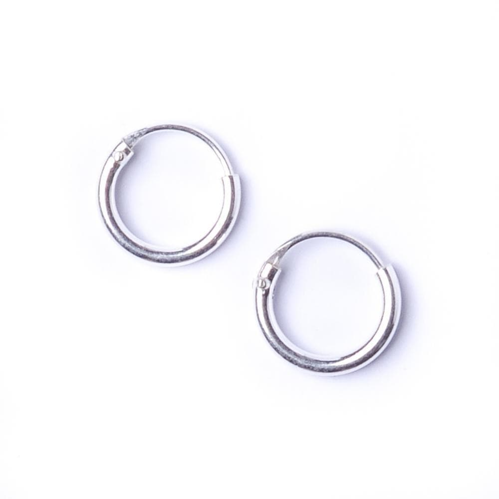 Sterling Silver Round 1.2mm 8 mm Tiny Hoop Earrings