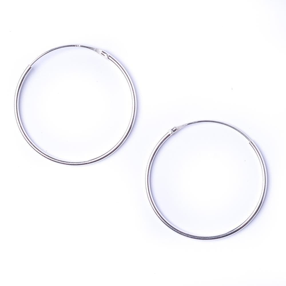 Load image into Gallery viewer, Sterling Silver Round 1.2mm 30 mm Hoop Earrings