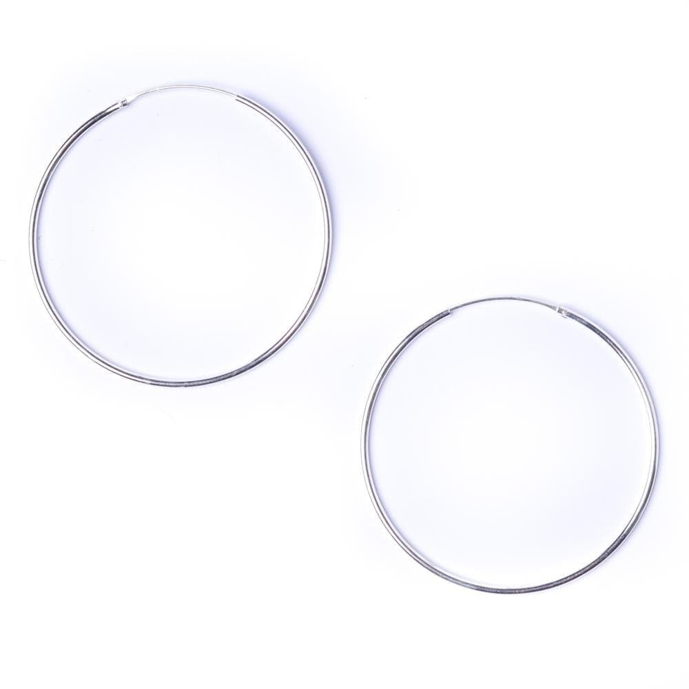 Sterling Silver Round 1.2mm 50mm Hoop Earrings