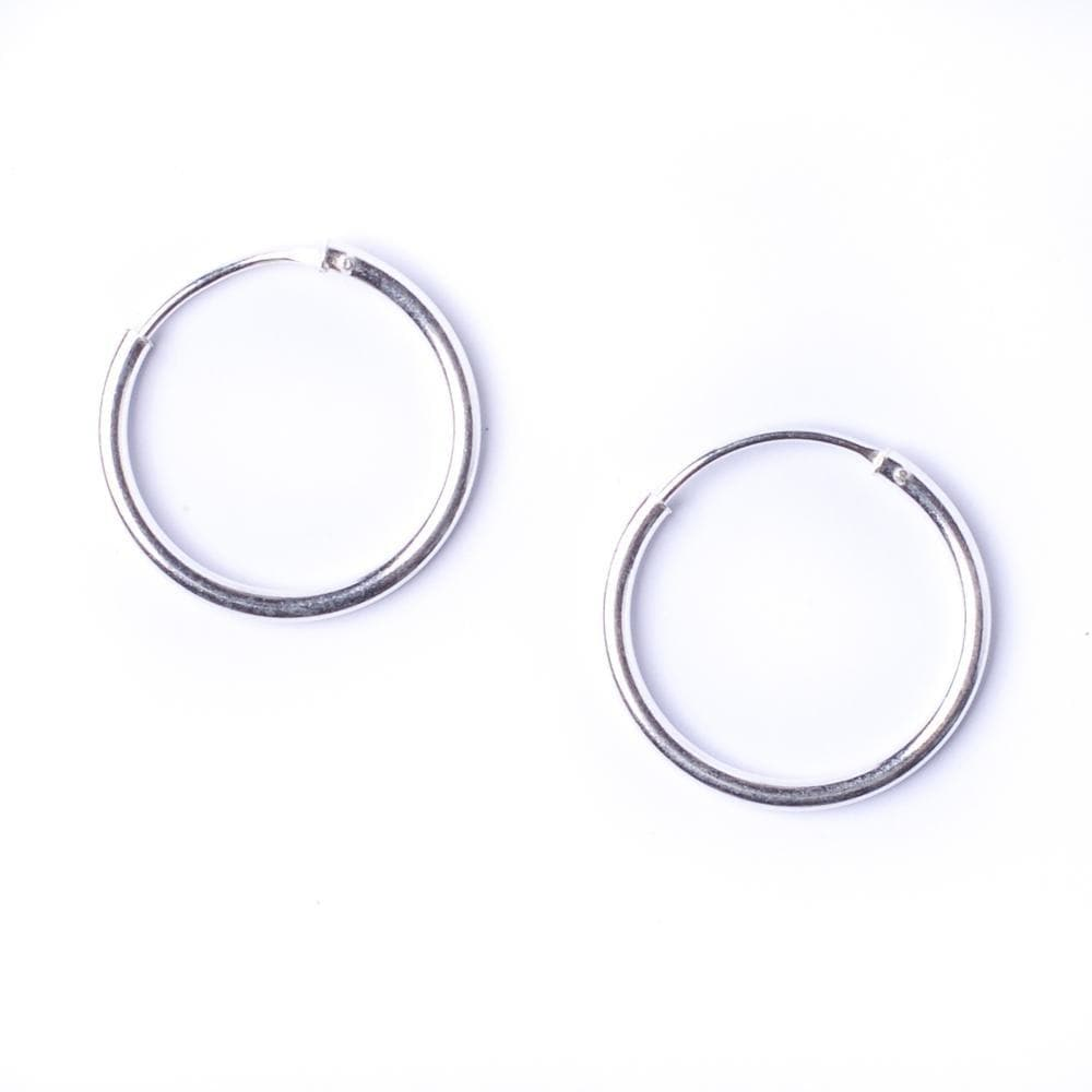Sterling Silver Round 1.2mm 16 mm Hoop Earrings