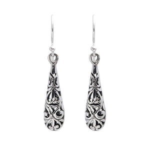 Load image into Gallery viewer, Sterling Silver Filigree Balinese Drop Earrings