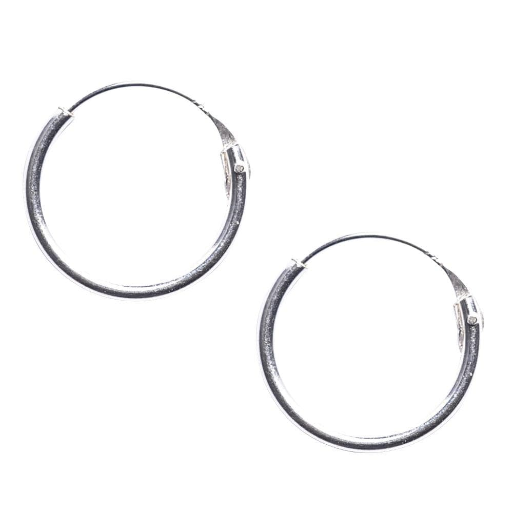 Sterling Silver Round 1.2mm 14 mm Hoop Earrings