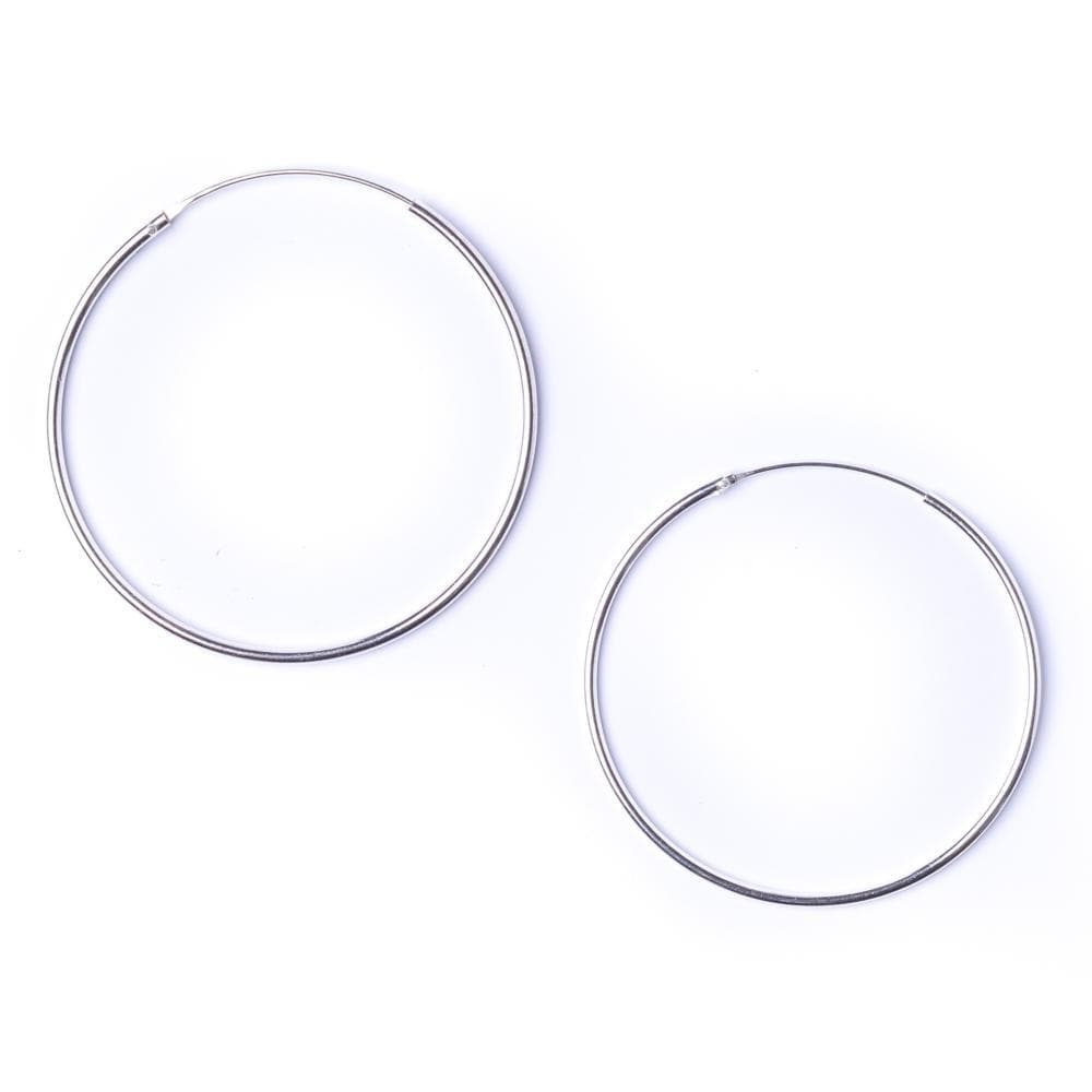 Load image into Gallery viewer, Sterling Silver Round 1.2mm 45 mm Hoop Earrings