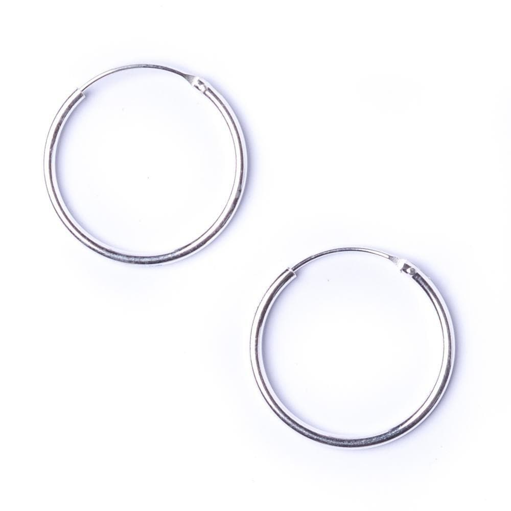 Load image into Gallery viewer, Sterling Silver Round 1.2mm 20 mm Hoop Earrings