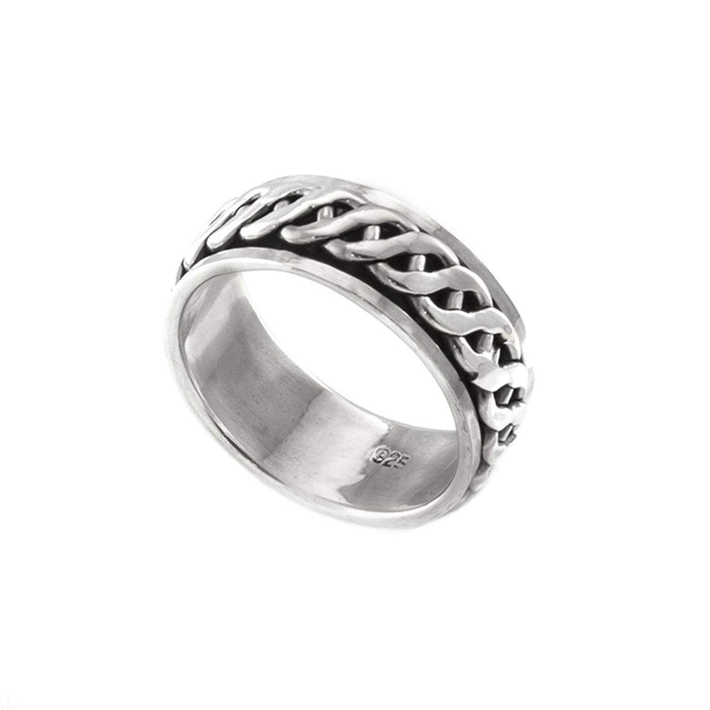 Sterling Silver Celtic Rope Spinner Thumb Ring