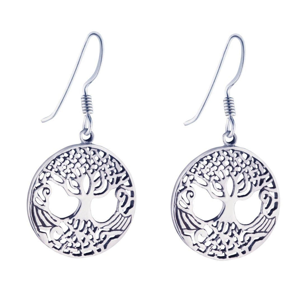 Load image into Gallery viewer, Sterling Silver 20 mm Tree Of Life Dangle Earrings
