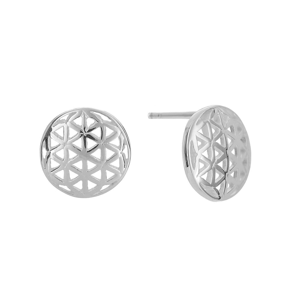 Sterling Silver Disc Seed of Life Stud Earrings