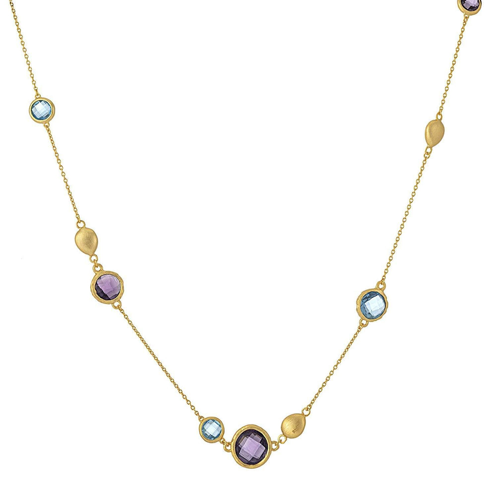 Brushed Gold Plated Sterling Silver Purple & Blue Gem Necklace