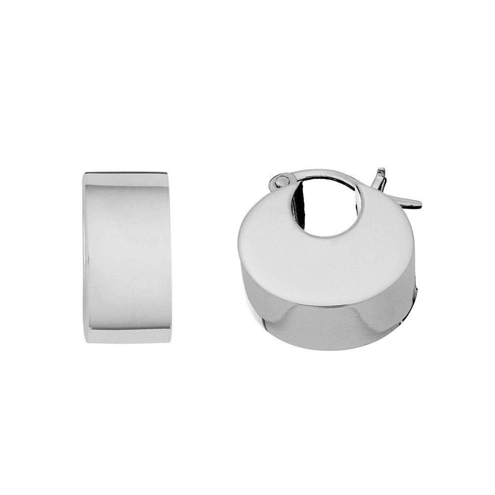 Load image into Gallery viewer, Sterling Silver C-Shape Square Tube Hoop Earrings