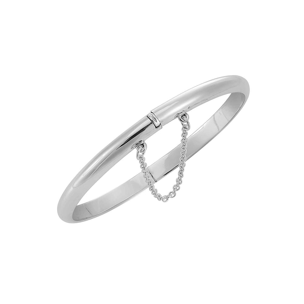Sterling Silver Curved Hinged Bangle With Chain