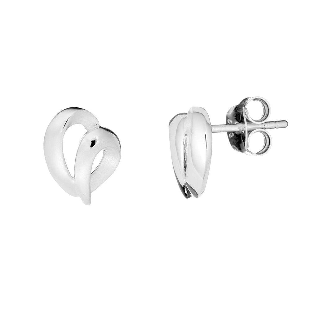 Brushed & Polished Sterling Silver Scribble Heart Stud Earrings