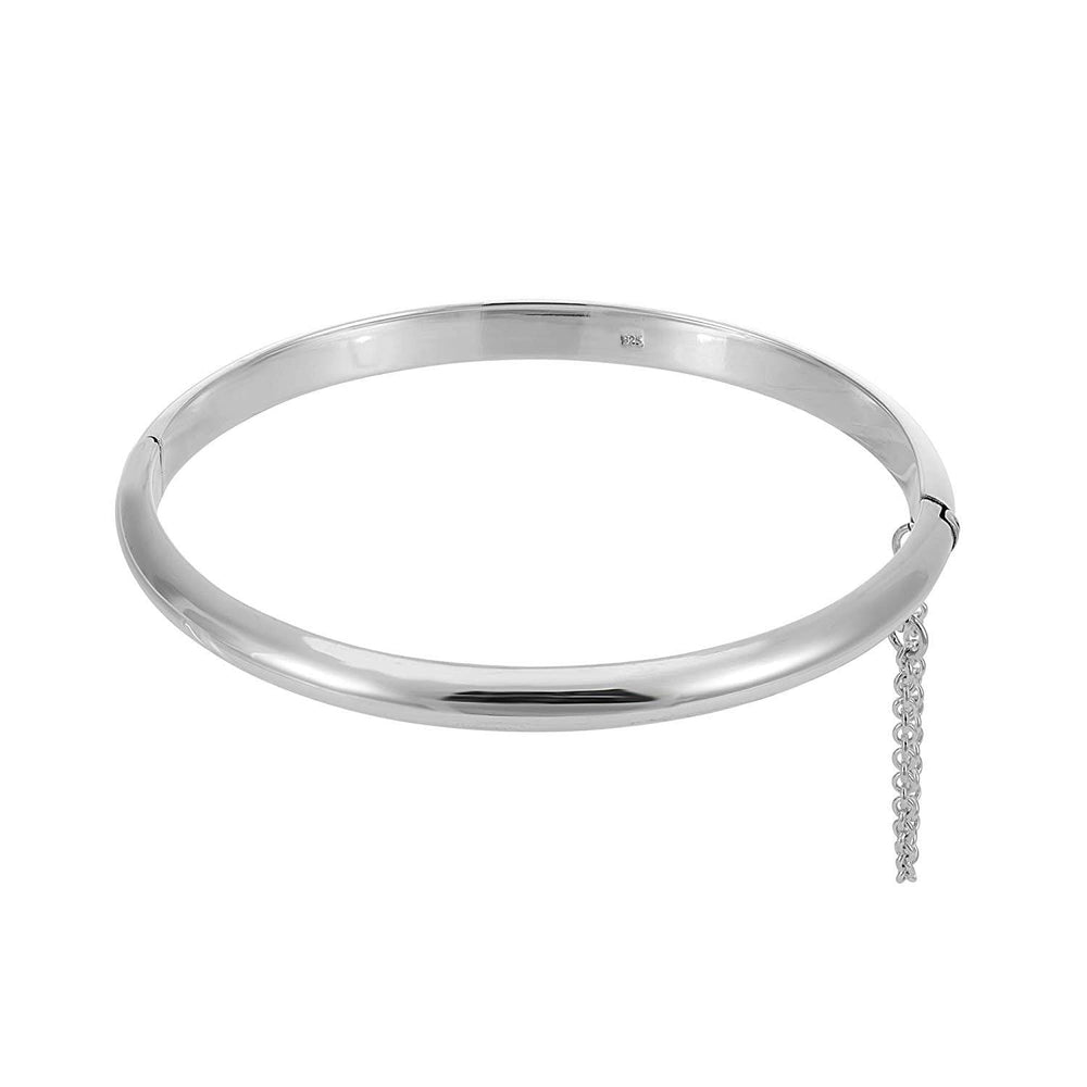 Load image into Gallery viewer, Sterling Silver Curved Hinged Bangle With Chain