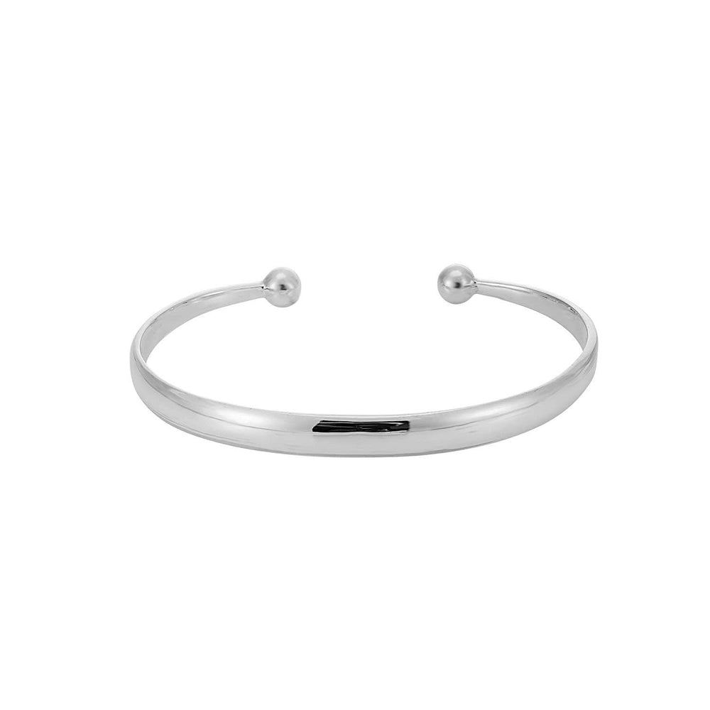 Sterling Silver Curved Edge Adjustable Torque Bangle